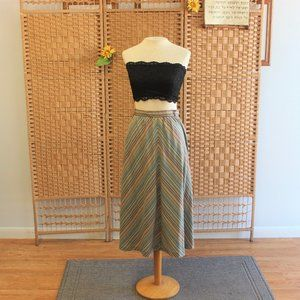 1970s Chevron Stripe High Waist Skirt M